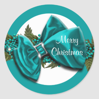 Christmas greeting seals blue PERSONALIZE Round Sticker