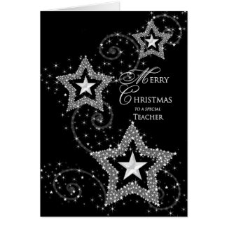 Christmas Greeting- Teacher -Sparkly Stars Card