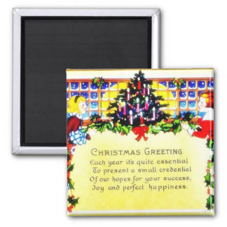 Christmas greeting with a girl and a boy decoratin magnet