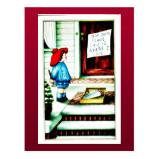 Christmas greeting with a girl in mirror postcard