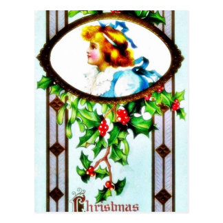 Christmas greeting with a girl in mirror postcards
