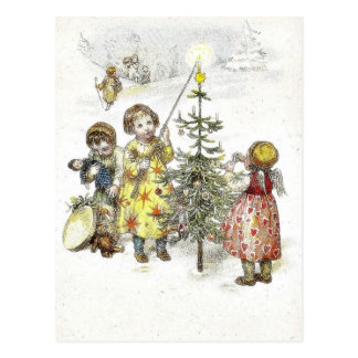 Christmas greeting with a girl lets fire on a cand postcard
