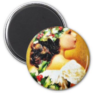 Christmas greeting with a girl fridge magnets