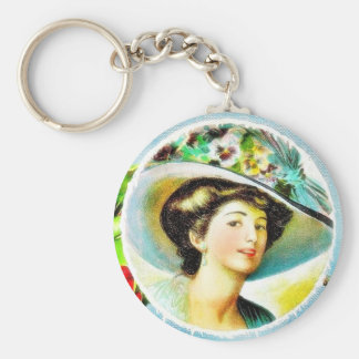 Christmas greeting with a lady and a bird key chains
