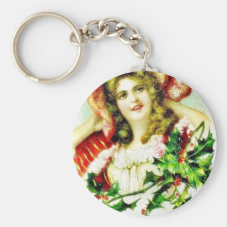 Christmas greeting with a woman key chains