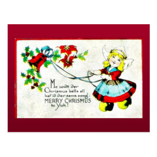 Christmas greeting with an angel in the mirror post card