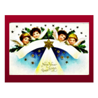 Christmas greeting with an angel in the mirror postcard
