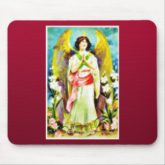 Christmas greeting with an angel praying mousepads