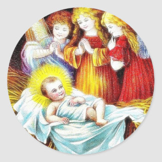 Christmas greeting with Angels praying infront of Classic Round Sticker