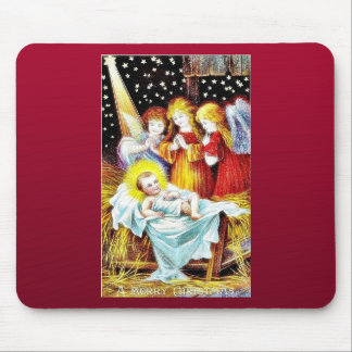 Christmas greeting with Angels praying infront of Mousepad