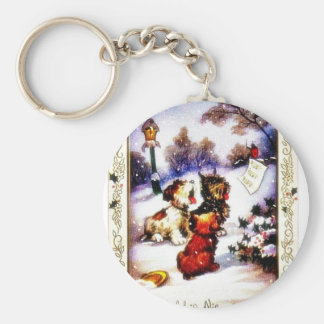 Christmas greeting with barking dog key chain