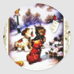 Christmas greeting with barking dog round stickers