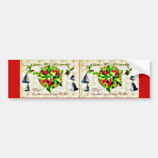 Christmas greeting with bell and holy leaves bumper sticker