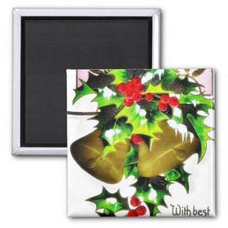 Christmas greeting with bells refrigerator magnet