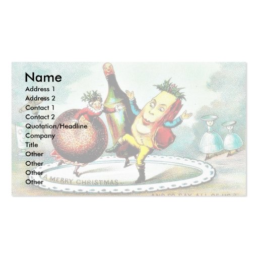 Christmas greeting with cartoon of wines and fruit business card template