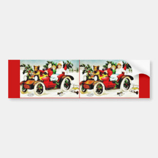 Christmas greeting with cat like toy driving a car bumper sticker