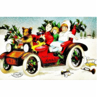 Christmas greeting with cat like toy driving a car photo cutout