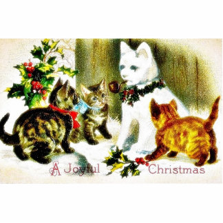 Christmas greeting with cats meeting acrylic cut out