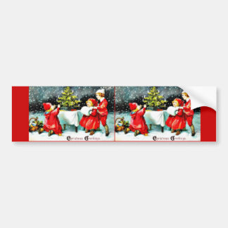 Christmas greeting with children playing around th bumper sticker