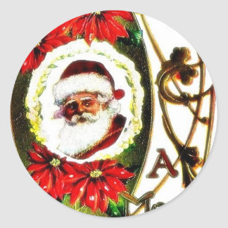 Christmas greeting with decorated santa claus phot round stickers