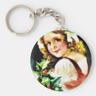 Christmas greeting with girl key chain