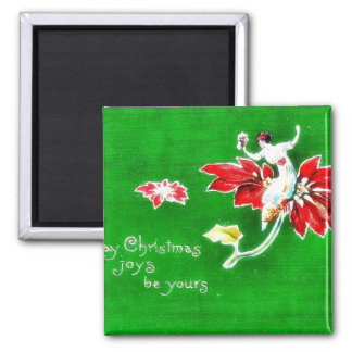 Christmas greeting with girl on a flower fridge magnets