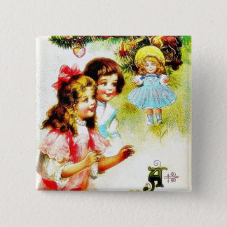 Christmas greeting with girls looking at the chris 15 cm square badge