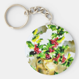 Christmas greeting with holy leaves key chains
