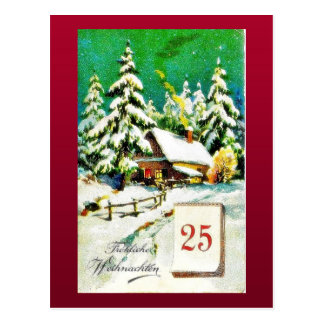Christmas greeting with house in a snow land showi postcards