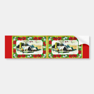 Christmas greeting with houses on the snow land bumper stickers