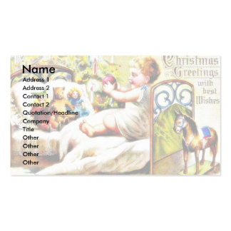 Christmas greeting with kid playing with toys business card templates