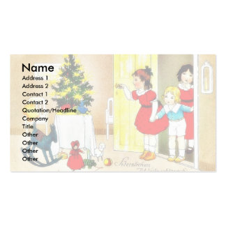 Christmas greeting with kids opening the door and business card templates