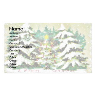 Christmas greeting with kids opening the door and business cards