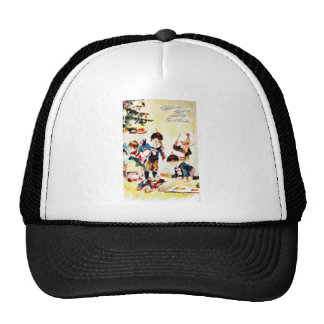 Christmas greeting with kids playing with gifts trucker hat