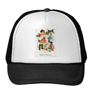 Christmas greeting with kids playing with toys hat