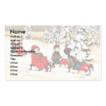 Christmas greeting with kids snow slading Double-Sided standard business cards (Pack of 100)