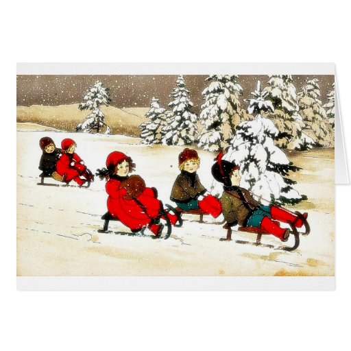 Christmas greeting with kids snow slading greeting card