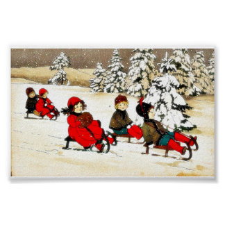 Christmas greeting with kids snow slading poster