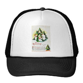 Christmas greeting with kids wearing christmas tre trucker hats