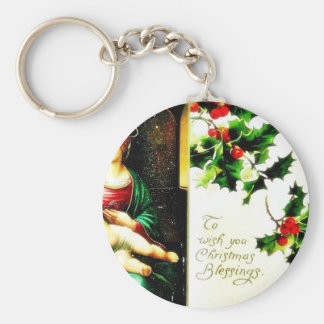 Christmas greeting with Mary with Jesus Key Chain