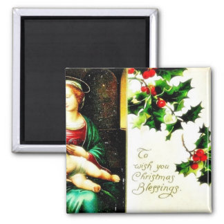 Christmas greeting with Mary with Jesus Refrigerator Magnets