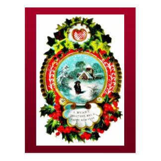 Christmas greeting with mirror decorated with holy postcard