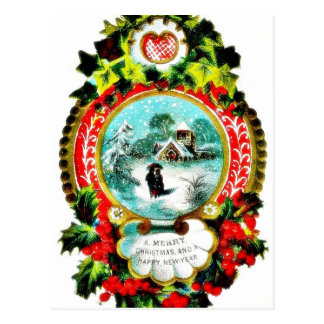 Christmas greeting with mirror decorated with holy post cards