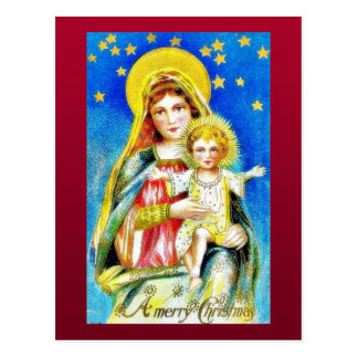 Christmas greeting with mother mary holding jesus postcard