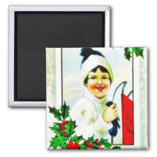 Christmas greeting with photo of boy magnet
