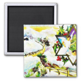 Christmas greeting with scenary and angels found w fridge magnet