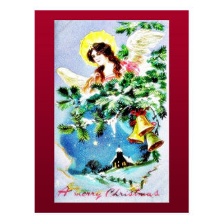 Christmas greeting with scenary in mirror postcard