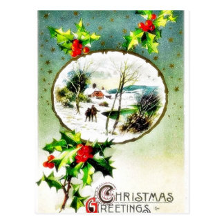 Christmas greeting with scenary in mirror post card