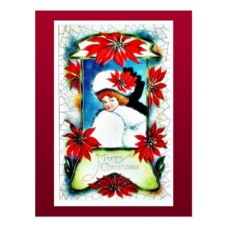Christmas greeting with scenary in mirror post cards