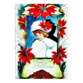Christmas greeting with scenary in mirror postcards